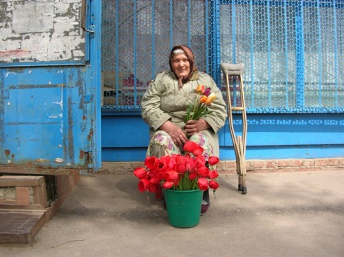 babushka with flowers